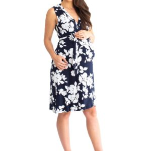 Maternity Wrap Dress Navy Floral Front