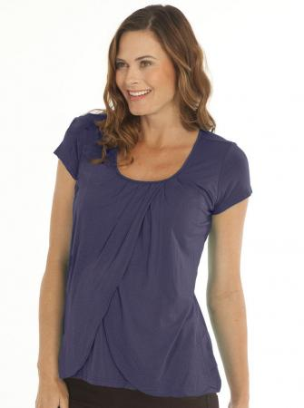 Breastfeeding Petal Front Short Sleeve Nursing Top - Deep Violet2